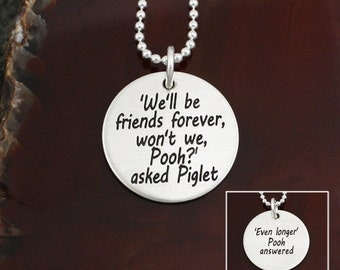 We'll Be Friends Forever Friendship / Love Necklace  -  Sterling Silver