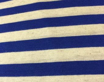 SALE!! Royal Blue heather Half Inch Stripe Cotton Jersey Blend Knit Fabric
