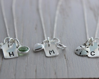hand stamped sterling silver initial charm and birthstone necklace for mom or girl, push present for new mom, graduation gift, baptism gift