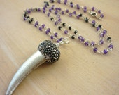 Long beaded silver horn, purple & black zircon necklace. layering necklace.