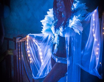 Mesh Kimono with LEDs (optional)- Victoria's Secret Burning Man Festival Costume