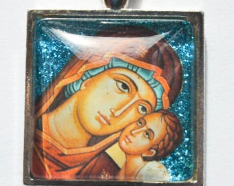 Madonna and Child Russian Icon pendant