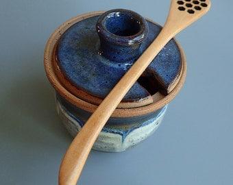 Stoneware Honey Jar Honey Pot with Honey Dripper