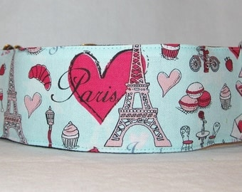 Paris Martingale Dog Collar - 1.5 or 2 Inch - pink french love hearts cupcakes lamp eiffel tower bicycle romantic bakery bread France