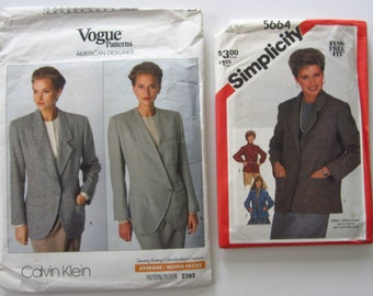 Destash Lot of 2 Vintage 1980's Sewing Patterns for Misses Lined and Unlined Jackets UNCUT