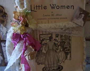 "Altered Vintage Book "" Littie Women "" Tattered Timeworn Charming Cottage Shabby Chic Decor Vignette Display  Sweet Pea Vintage Art"