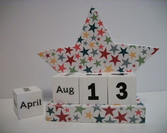 Star Calendar Perpetual Wood Block Multicolor Star Theme Decor
