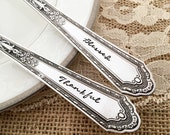 Blessed & thankful, Hand Stamped serving spoons. Romance