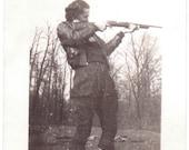 Vintage Photo - Lady With Rifle - Vernacular, Ephemera, Snapshot, Black and White (C)