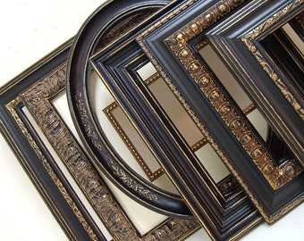 Picture Frame Set Shabby Chic Picture Frames Collage Ornate Vintage Picture Frames Oval Frame Black and Gold Home Wall Decor Wedding Frames