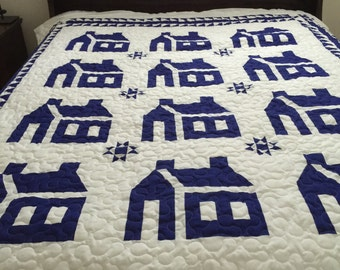 Quilt TWIN Blue & White School House with Ohio stars Ready to Ship