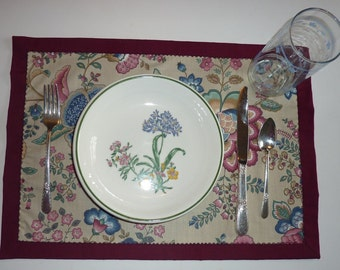 Place Mats, Set of 2, Reversible Placemats, Fantasy Flower, Table Mats, decorative stitching, washable place mats