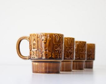 Vintage Mid Century Stackable Mug Set
