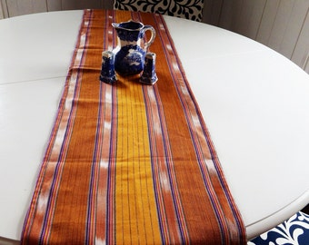 Vintage Cotton Table Runner in Gold - Hand Woven Tribal Vintage from Myanmar