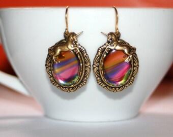 Vintage Rainbow glass Unicorn charm Victorian set brass dangle artisan earrings