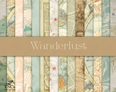 Vintage map papers - Scrapbook papers - Digital scrapbook paper - Travel scrapbook paper - Digital watercolor paper - Commercial use paper