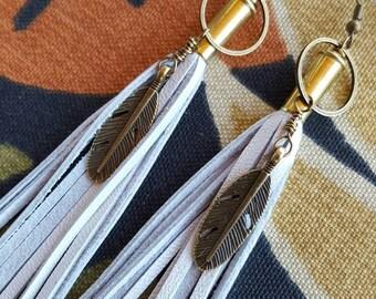 White leather tassel  earrings bullet  earrings Feather Earrings long earrings