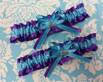 Motorbike Wedding Garter set regal royal purple  and turquoise blue garter set, purple and blue garter, name garter, personalized garter