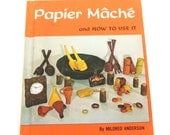 Vintage Book Orange Paper Mache Papier Mache Instructional Book Hardcover