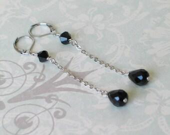 Art Deco Black Jet Dangle Earrings - Downton Abbey Jewelry