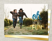 Gold Christmas Card | Photo Christmas Card | Photo Holiday Card | Double Sided | Printable JPG PDF - Oh What Fun
