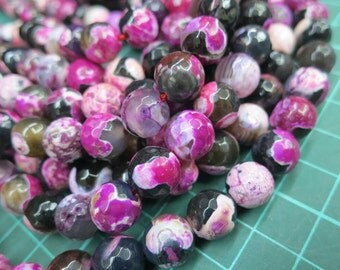 5 str (190pcs beads) -10mm Black violet fuchsia Fire Agate Round Beads faceted