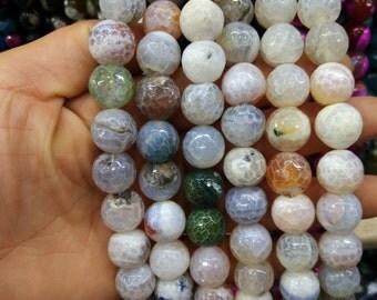2 str -White Fire Agate 14mm Round ball beads -28pcs/strand