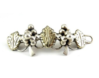 Vintage Sterling Silver Mexico Grapes & Leaves Barrette - Long Size