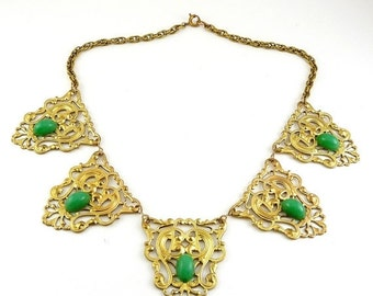 SALE 1930s Necklace - Brass Filigree Medallions with Jade Glass Jewels