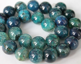 Beautiful Teal Blue Veins Agate Smooth Round Beads 14mm