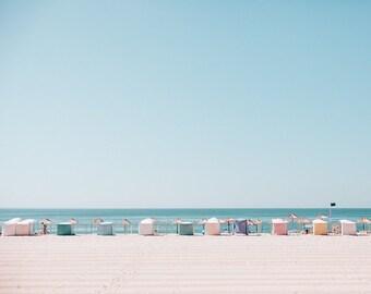 Beach Huts Landscape photography, Seaside, Nature Photograph, Umbrellas, Pastel Colors, Vintage Inspired, Turquoise,  Aqua, Blue