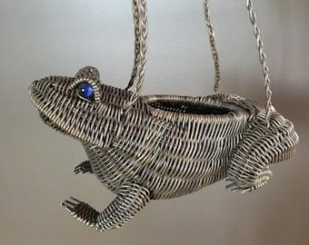 FROG - WICKER frog - PURSE - blue marble eyes - plant hanger
