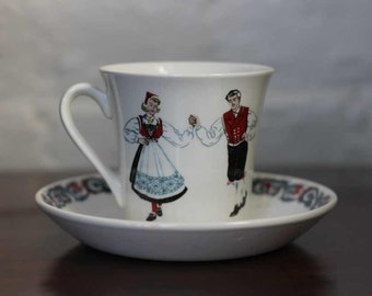 FIGGJO NORWAY - Norge - HARDANGER dancers - cup and saucer