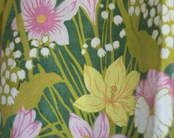 CURTAINS - FLORAL - 2 panels - daffodil - pansies - lily of the valley - freesia - SPRING has sprung!