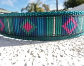 """Dog Collar Tribal Stripe 3/4"""" or 1"""" width in Side Release buckle OR Martingale style collar adjustable"""
