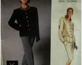 Yves Saint Laurent Jacket Pattern, 80s, Collarless, Monogram, Pockets, Button Trim, Lined, Straight Skirt, Pants - Vogue 1836 UNCUT Size 12