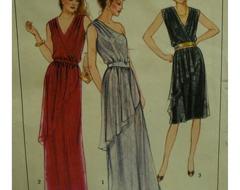 "One Shoulder Dress Pattern, Asymmetrical Overlay, Pleated Shoulders, Long/Short, V-neck, Wrap, 80s, Style No. 3182 Size 10 (Bust 32.5"" 83cm)"