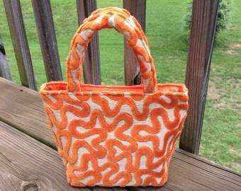Orange Squiggle Chenille Bag