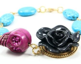 Skull bracelet, Sugar Skull jewelry, Day of the Dead, Dia de los Muertos, Halloween, 8 inches