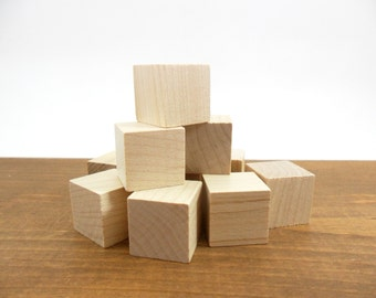 "20 Solid Wood Blocks 3/4"" Wood Cube Unfinished Wood"