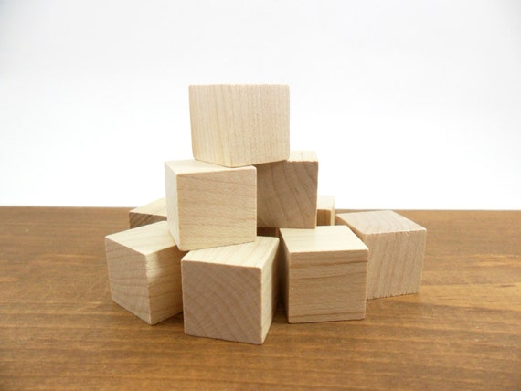 Solid wood blocks cube unfinished