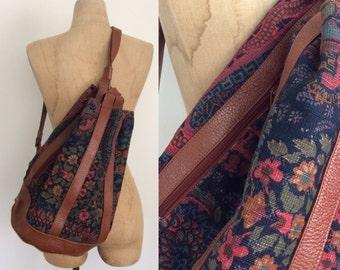 1970's Leather & Floral Print Canvas Bucket Bag Vintage Purse Bag by Maeberry Vintage