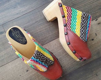1970's Deadstock Woven Tapestry & Vegan Leather Wooden Studded Clogs a Vintage Kilim Clogs Sz 7 by Maeberry Vintage NWOT