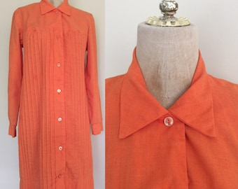 1970's Orange Cotton Shift Dress Pintucked Vintage Dress Size Small Medium by Maeberry Vintage