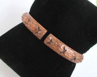 Whiting & Davis Vintage Copper Hinged Bracelet - Heavy