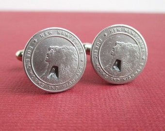 Old Man of the Mountain NH Token Cuff Links - Silver Tone - Vintage New Hampshire