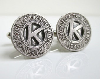 KNOXVILLE, TN Transit Token Cuff Links - Vintage 1946 Silver Tone Coins
