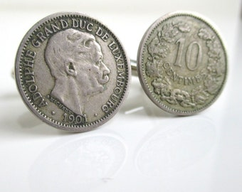 Luxembourg Cuff Links - 1901 Repurposed Coins