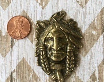 Indian Head Pendant Antiqued Gold Bronze Pewter