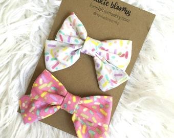 Sprinkle Bow, Fabric bow, Sailor Bow, Donut, Hair Bow